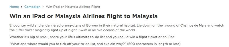 Malaysia Airlines Bucket List