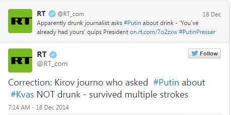 Putin jokes stroke-survivor journalist is drunk - Telegraph