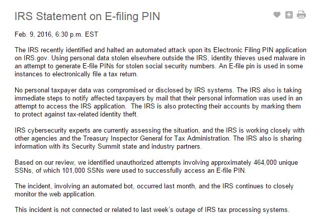 IRS Statement