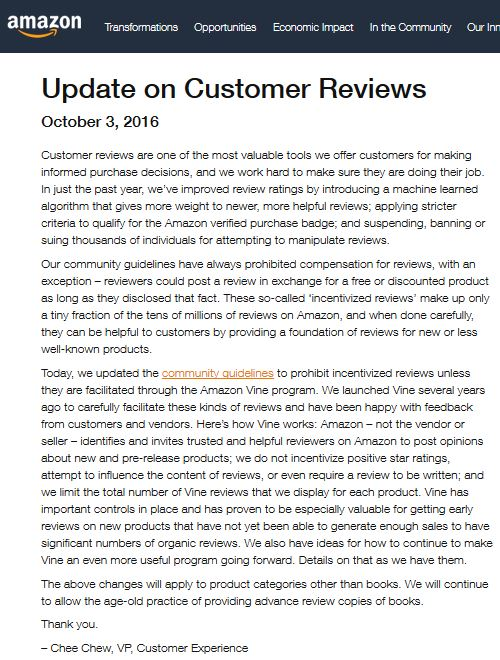 Amazon Cancels Incentivized Reviews (BizCom in the News)