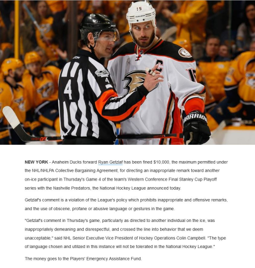 9696b441b79 Ryan Getzlaf Calls Ref a Bad Name (BizCom in the News)