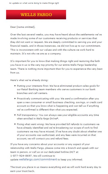 Wells Fargo Email To Customers